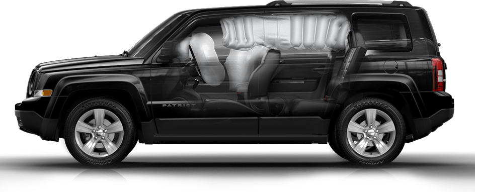 jeep patriot 2014 black. 2014 jeep patriot driver side profile cutaway showing airbags black