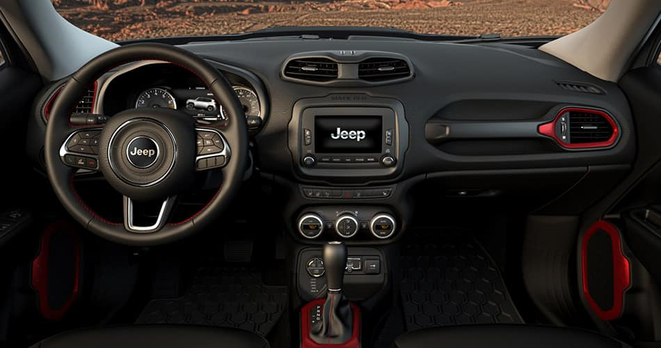 2015 Jeep Renegade Trailhawk Leather Interior Seats Black and Red: www.jeep.com/en/renegade/interior