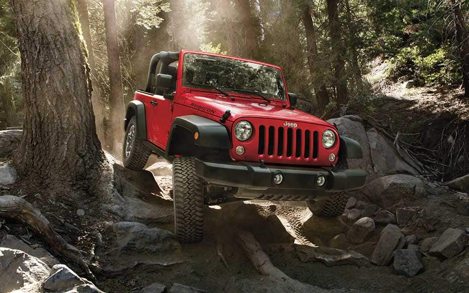 Red Jeep Wrangler in woods
