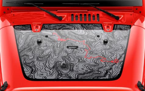 2016 Jeep Wrangler Unlimited Black Bear Hood Map