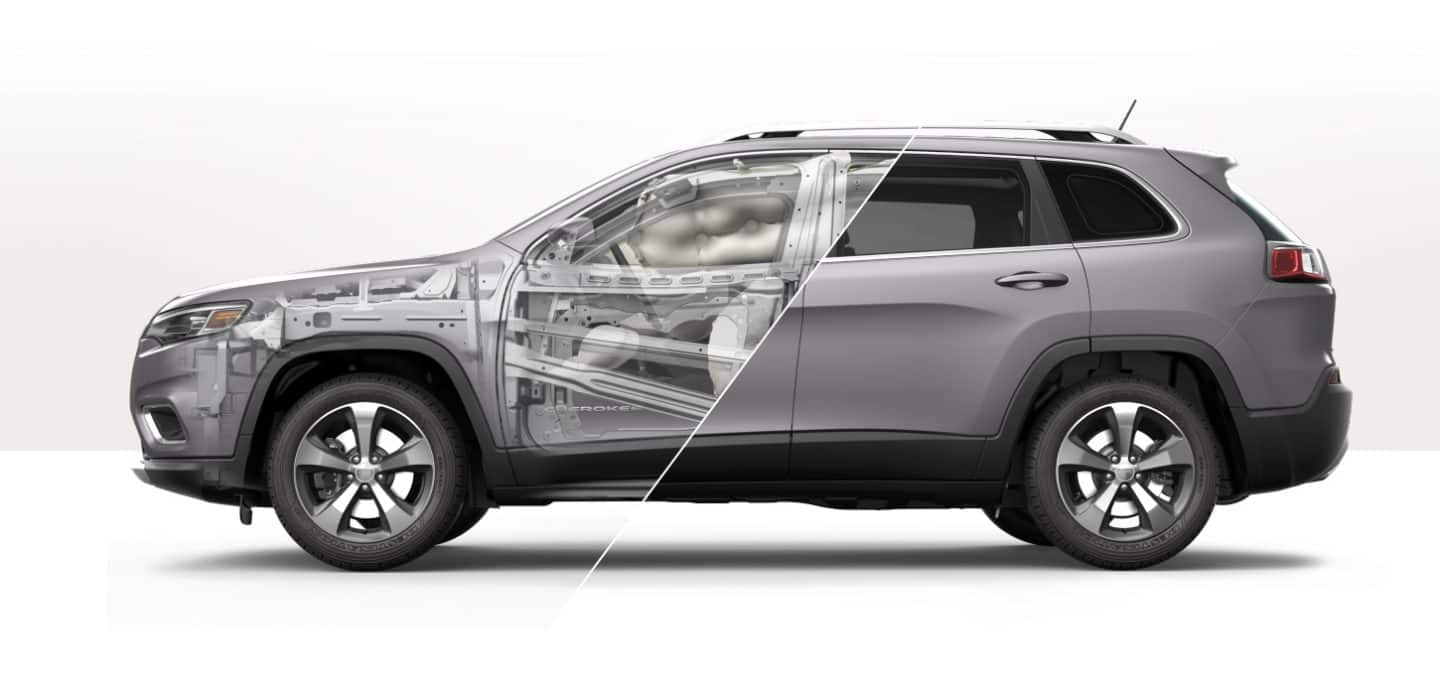 Profile of the Jeep Cherokee with safety features presented under-the-skin.