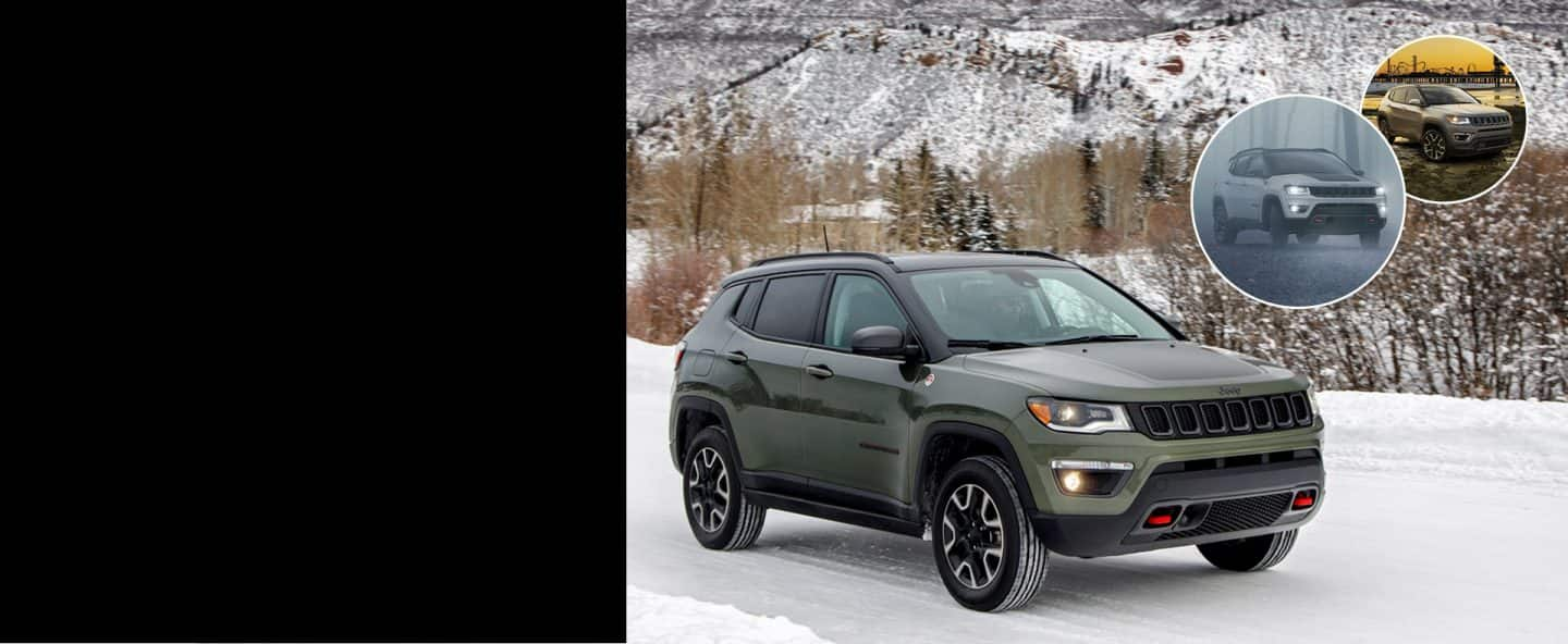 2019 Jeep Compass on packed snow. Inset images show Compass in foggy conditions and parked beside a river