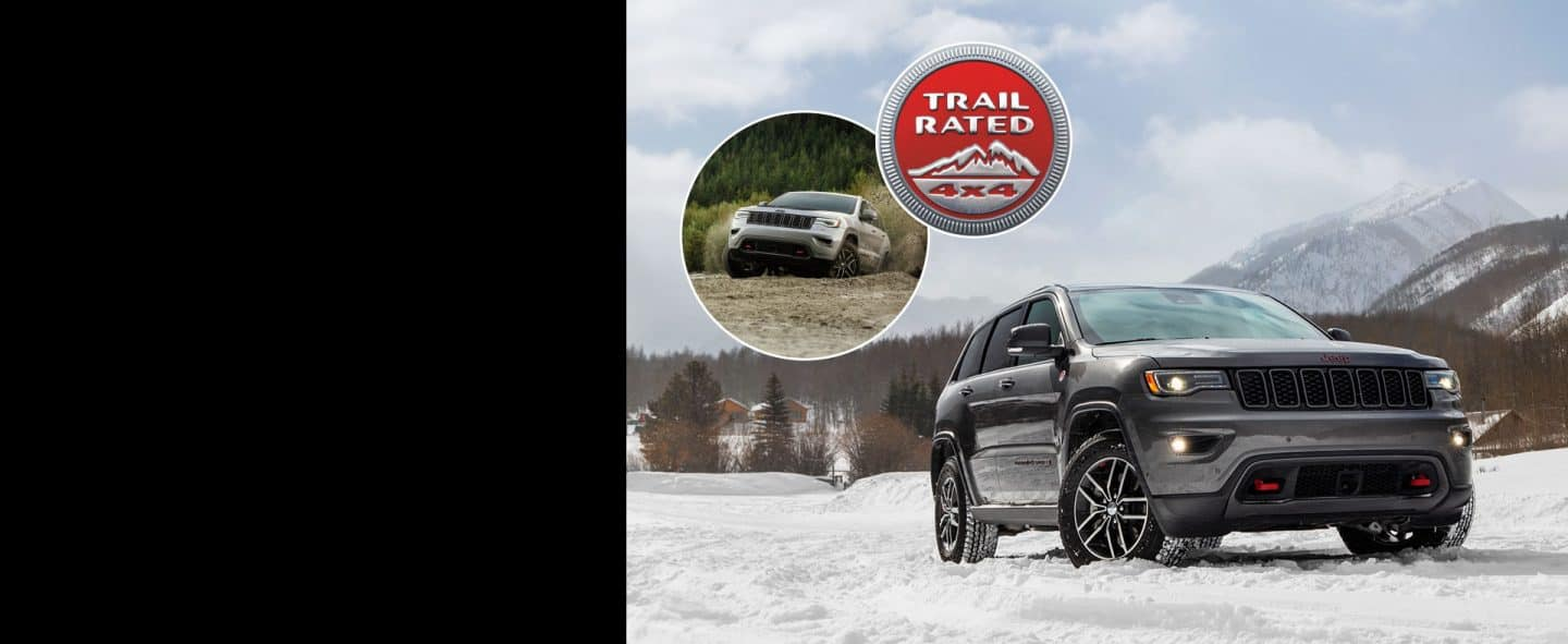 Left image: Jeep Grand Cherokee being driven in muddy conditions. Center Logo: Trail Rated 4x4. Right Image: Jeep Grand Cherokee being driven on snowy terrain.