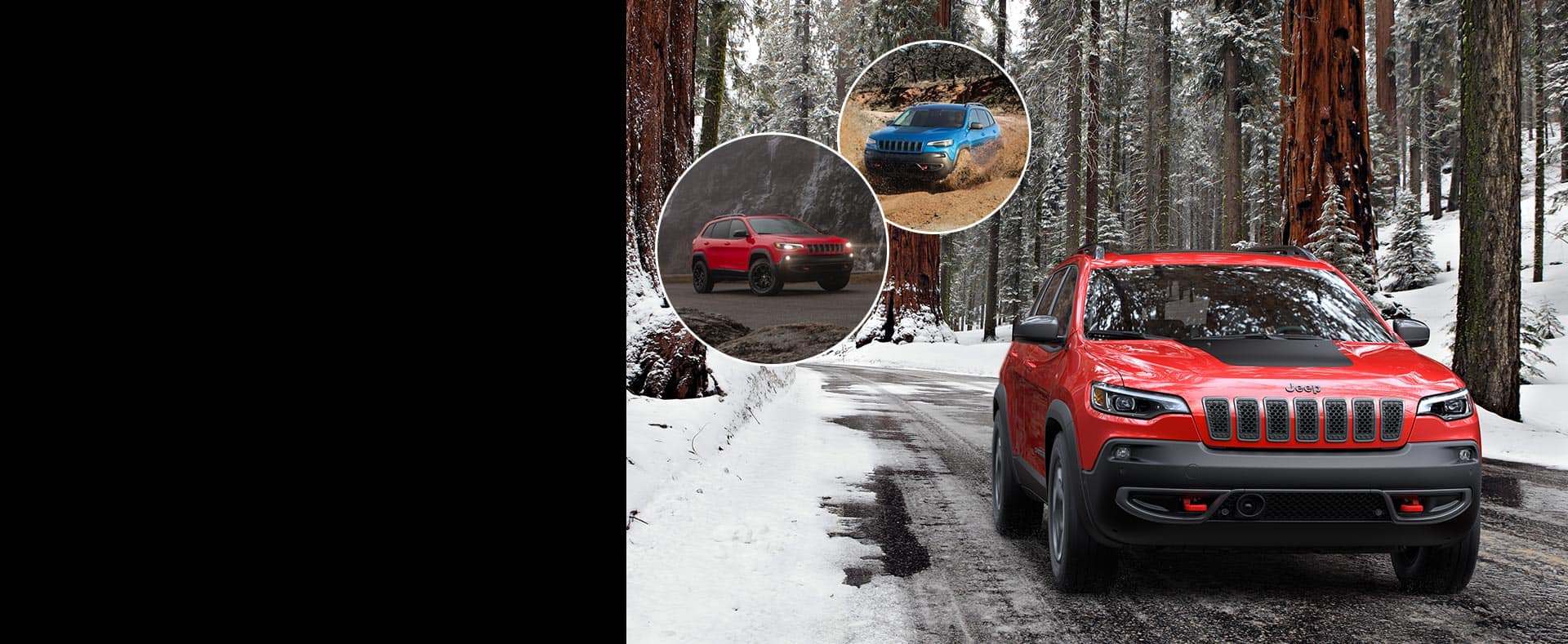 Left image: Jeep Cherokee parked with headlamps on. Center image: Jeep Cherokee being driven in muddy terrain. Right Image: Jeep Cherokee being driven in a snowy forest.