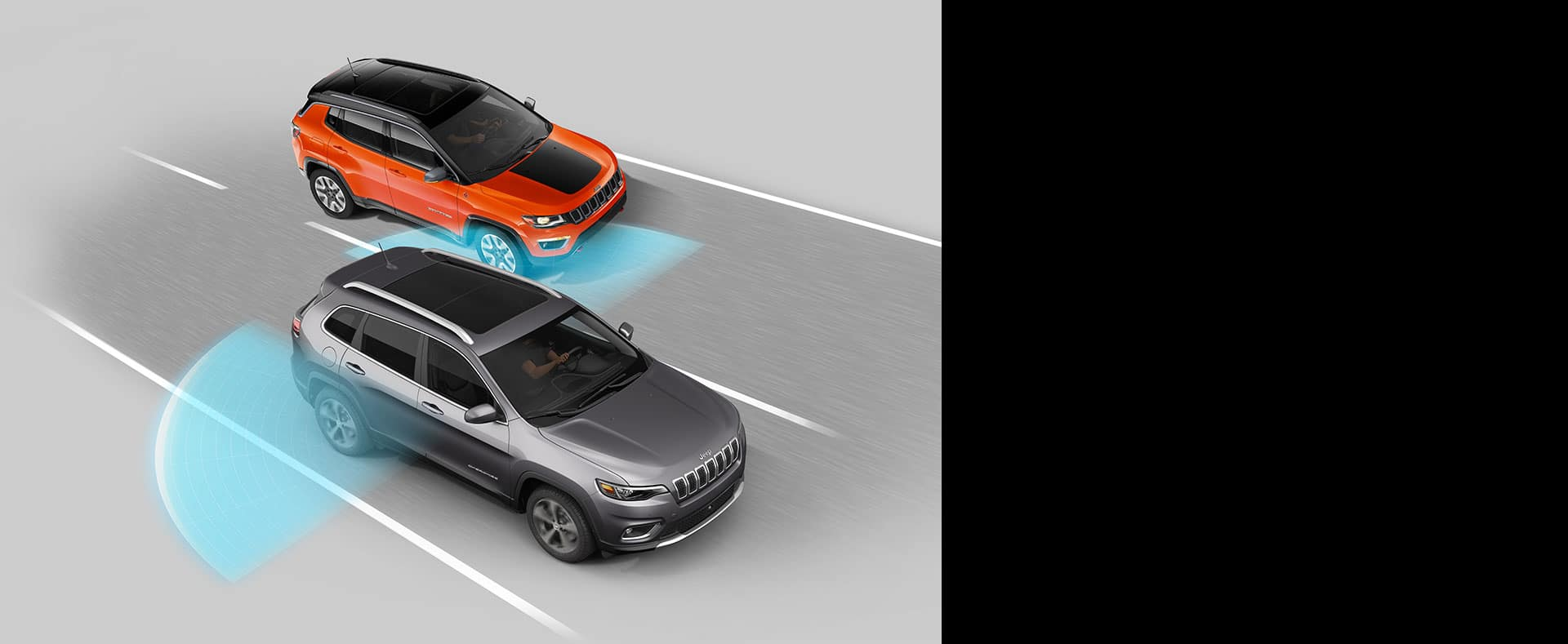 Illustration displaying areas monitored by the sensors on the Blind Spot Monitoring System on Jeep Cherokee.