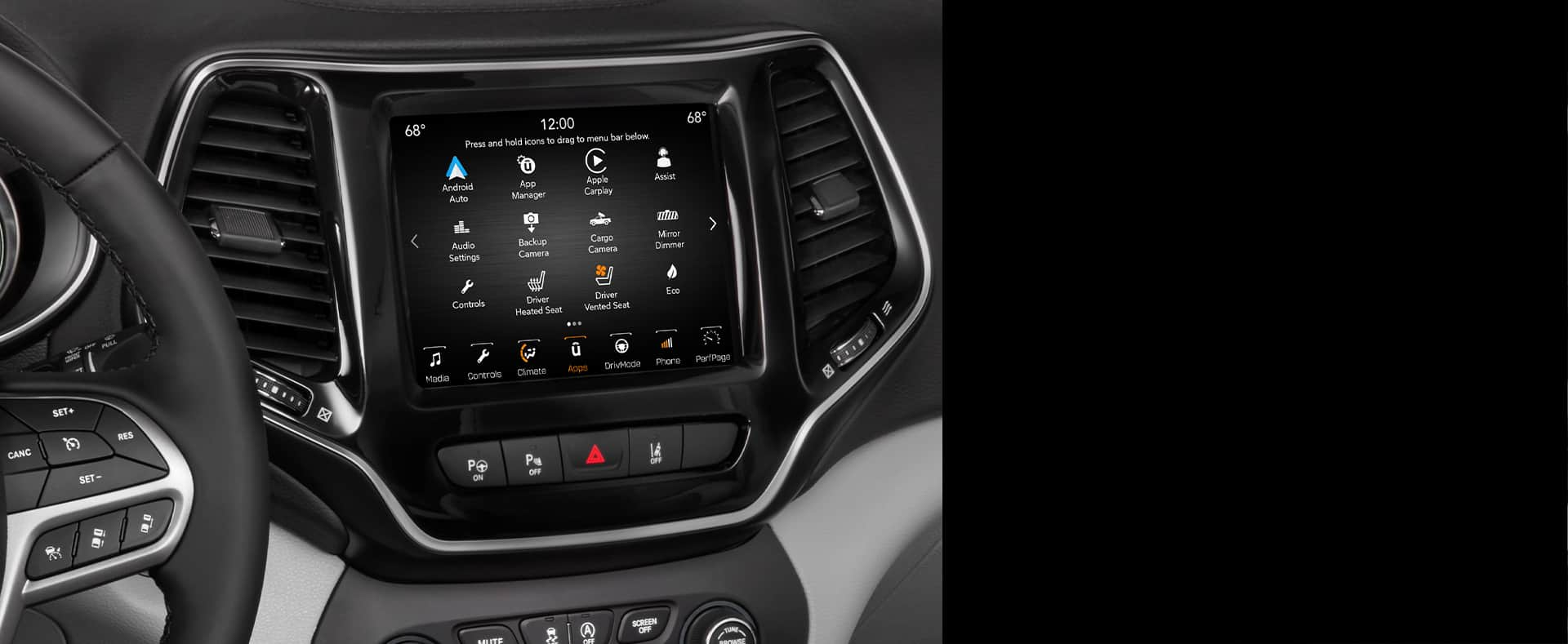 Close-up of touchscreen in Jeep Cherokee.