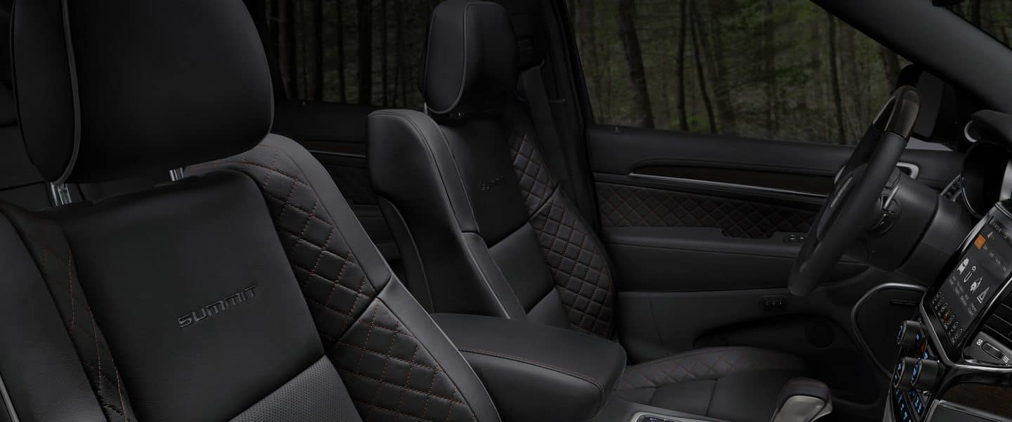 An interior view of the seats in the 2020 Jeep Grand Cherokee Summit.