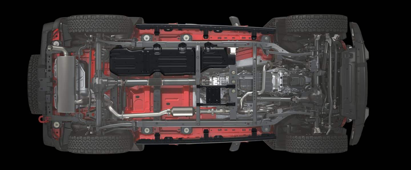 The underside of the 2020 Jeep Wrangler Rubicon showing the standard skid plates.