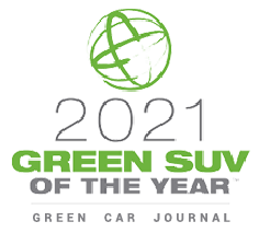 2021 Green SUV of the year logo. Green Car Journal.