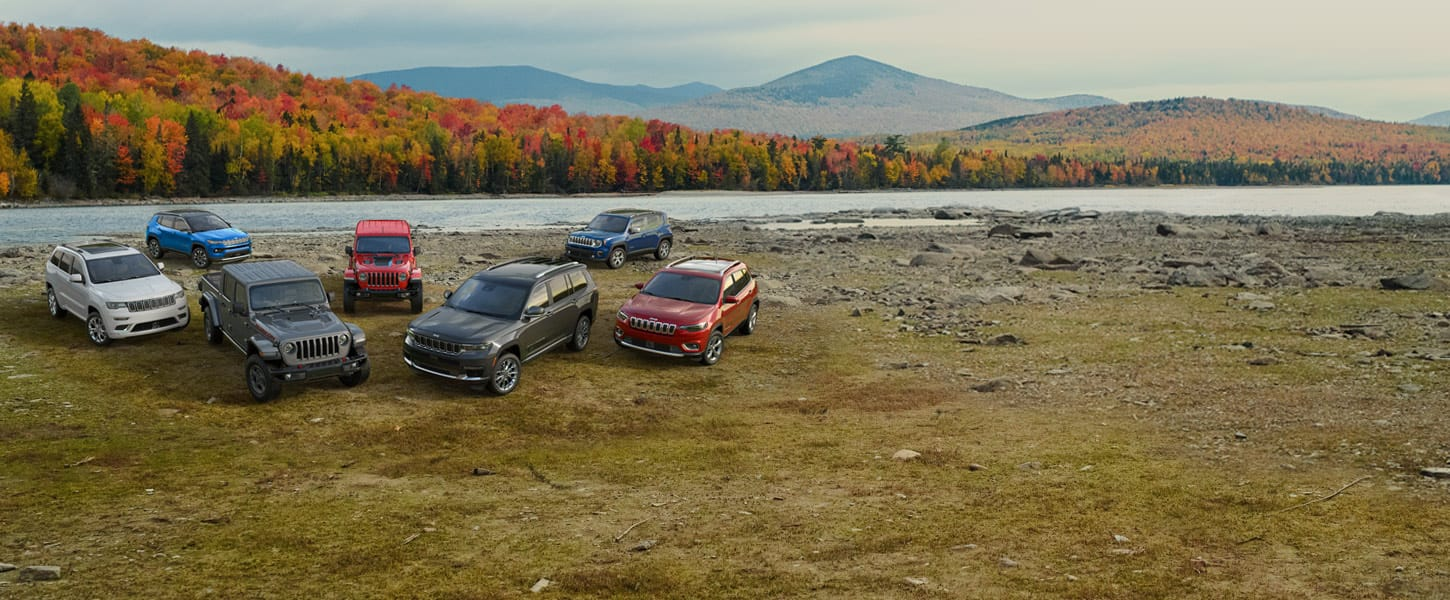 The family of 2020 Jeep® vehicles, left to right: Compass, Cherokee, Wrangler, Grand Cherokee, Renegade and Gladiator.