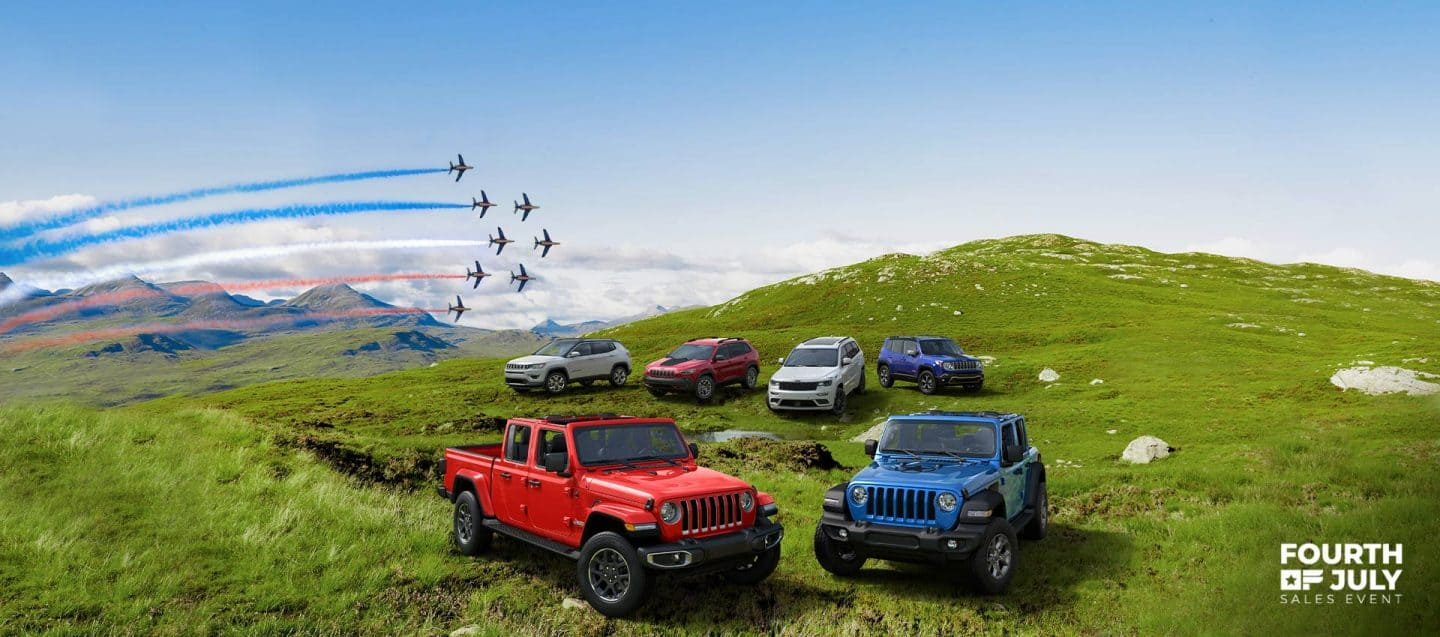 The 2020 Jeep® Brand lineup, left to right: Cherokee, Compass, Wrangler, Gladiator, Grand Cherokee and Renegade. Fourth of July Sales Event logo.