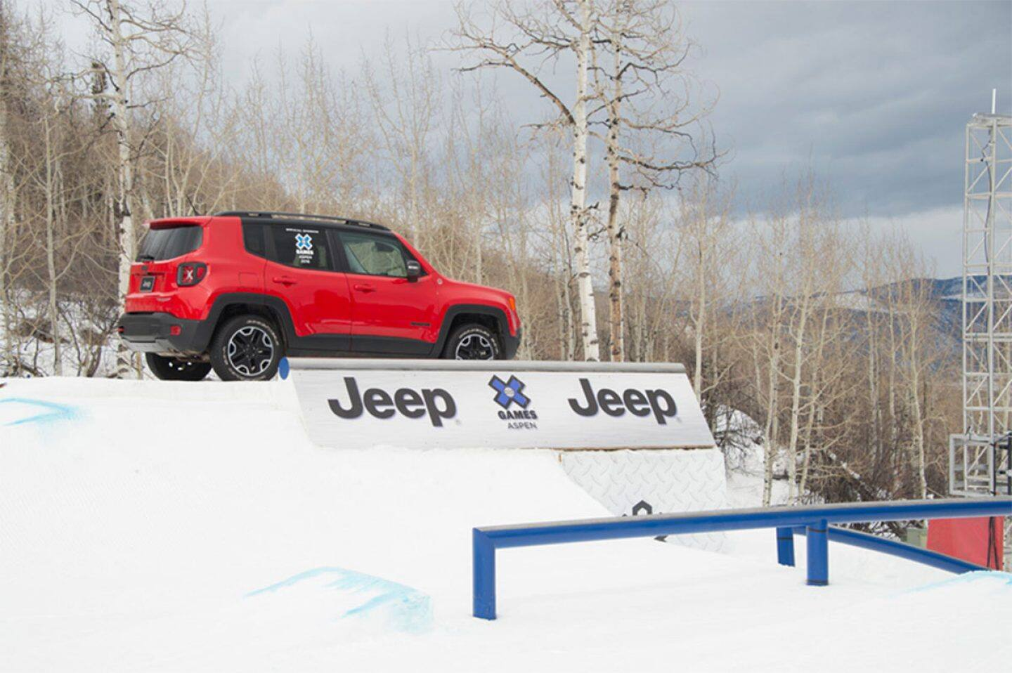 Display A red Jeep vehicle on display at the X Games
