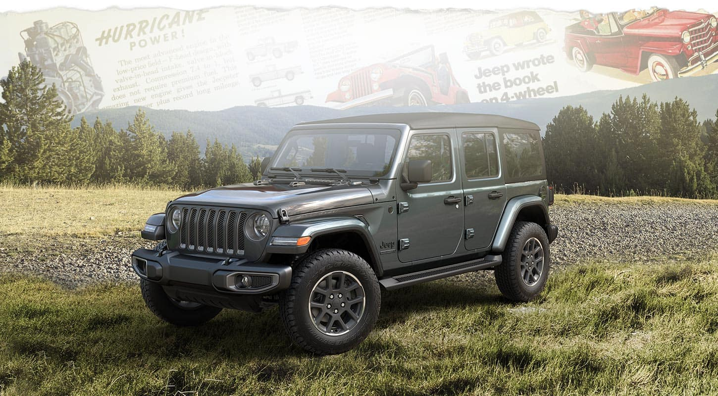 A three-quarter front profile of the 2021 Jeep Wrangler 80th Anniversary Edition superimposed on historical advertisements for the Jeep brand.