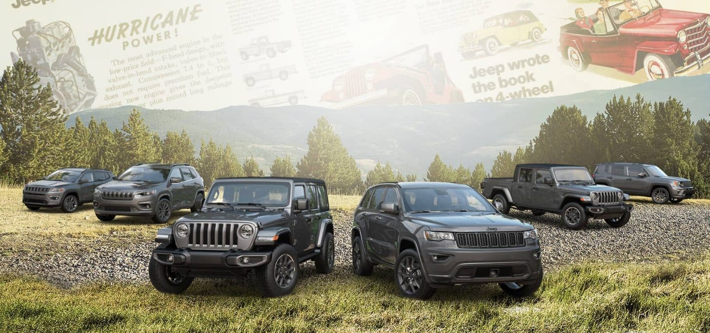 A lineup of six 2021 Jeep Brand vehicles superimposed on historical advertisements for the brand.
