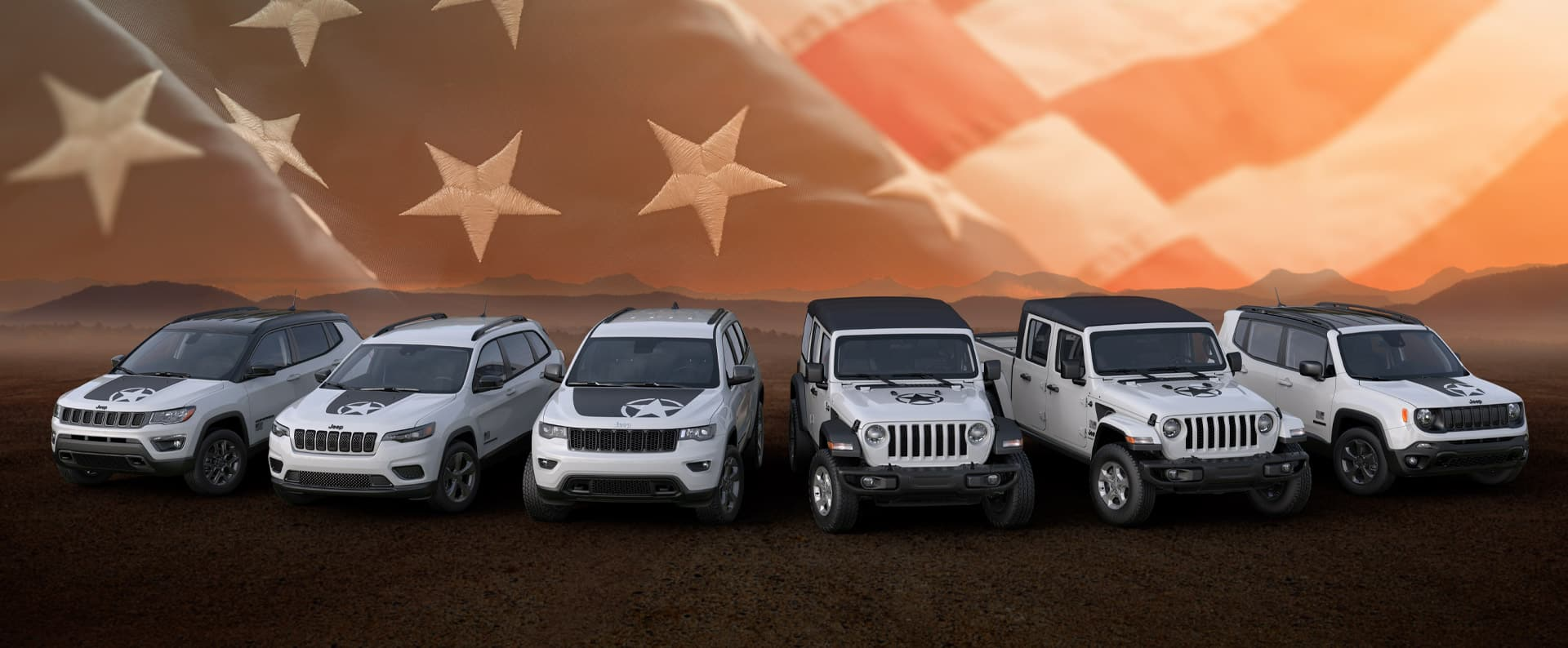 A lineup of the 2021 Jeep Brand Freedom Edition vehicles: Compass, Cherokee, Grand Cherokee, Wrangler, Gladiator and Renegade.