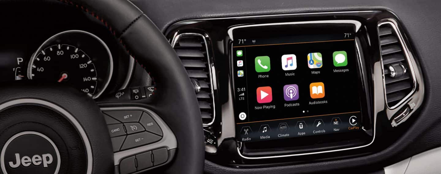 Apple CarPlay support. Take your iPhone on the road with Apple CarPlay support, offering a more convenient, easy way to access some of the features of your smartphone through your Uconnect system.